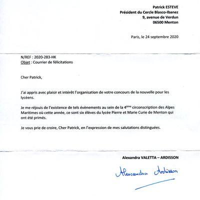 Remerciements de Madame la Députée et de Monsieur le Maire pour le travail accompli