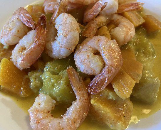 Curry de patates douces et de crevettes