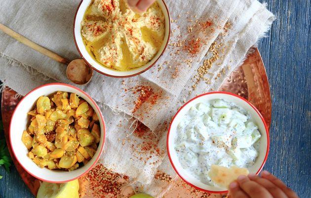 Mezze (Hummus, Khiyar bil ben, courgettes à l'ail, pois-cassés façon hummus)