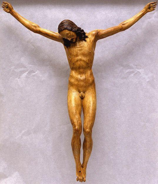 Crucifix de Michel-Ange, 1492, Bois peint et étoupe durcie, 142 × 35 cm, Basilique Santo Spirito (Florence)