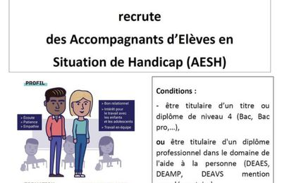 Appel à candidatures aux fonctions d'AESH pour le 67 et 68