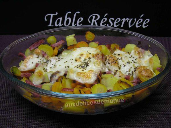 gratin de pommes de terre et carottes à la mozzarella et bacon -LIGHT-