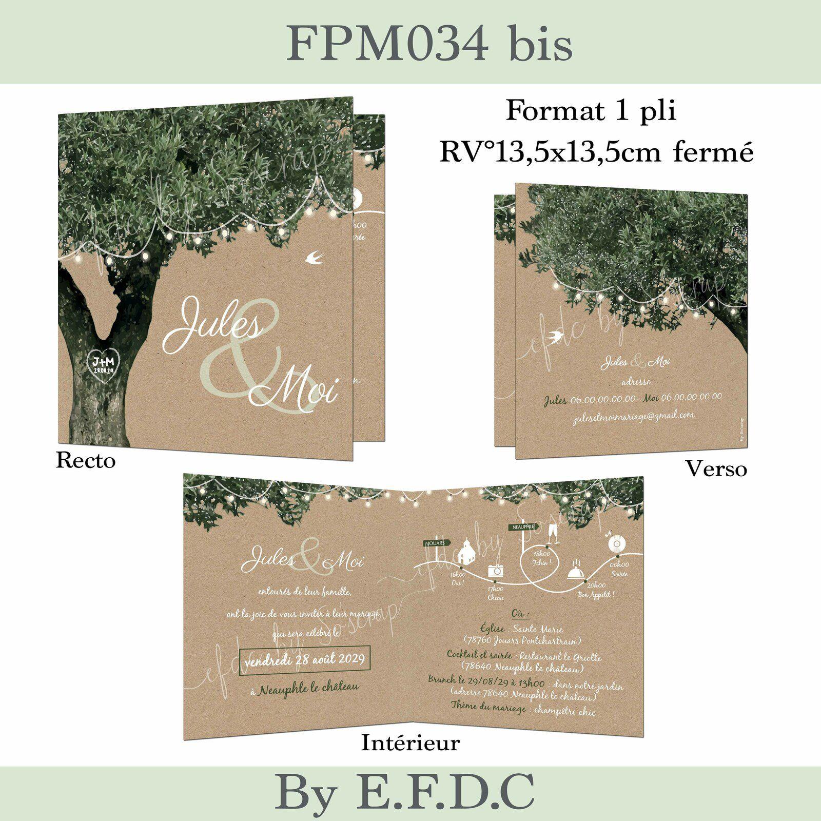 RÉF FPM034, faire part mariage thème olivier et guinguette, recto verso A5, impression fond kraft, arbre olivier, texte à personnaliser, scrap digital
