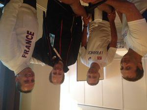 Clémence Calvin (française médaille d'argent 10000m Zurich 2014) & Jimmy Vicaut (sprinter français) traitée avec INIDIBA activ & le staff médical de la FFA (Frédéric Fauquenoi, Joel Coquebert, Jean-Michel Serra et Philippe Peytral