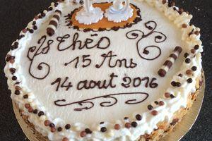 gâteau crème mousseline/pêches