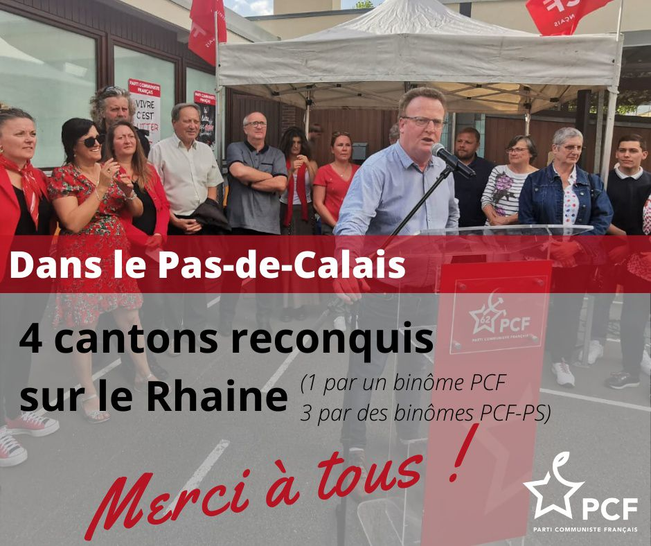 Départementales et régionales 2021 : succès pour les communistes du Pas-de-Calais