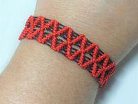 Tutoriel et patron: bracelet brésilien losange bicolore