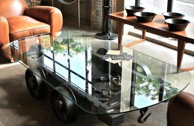 Table basse industrielle origine chariot de mine