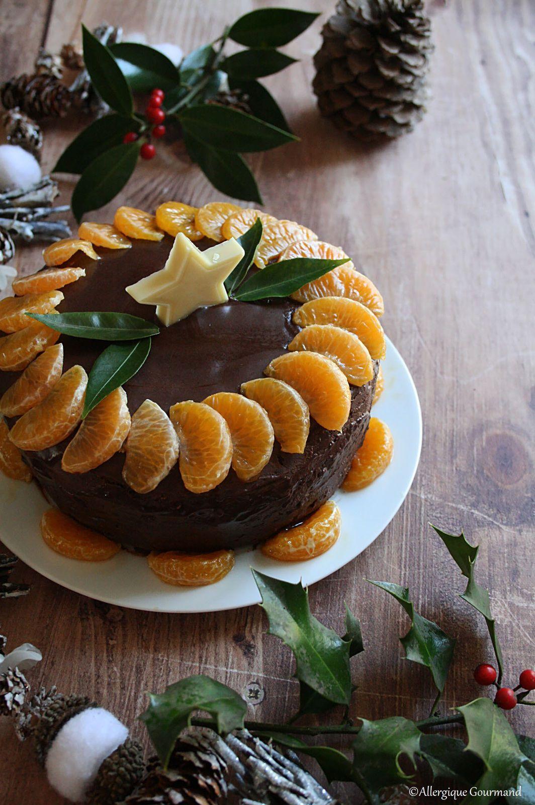 layer cake de fêtes chocolat clémentines sans gluten sans lait sans œufs
