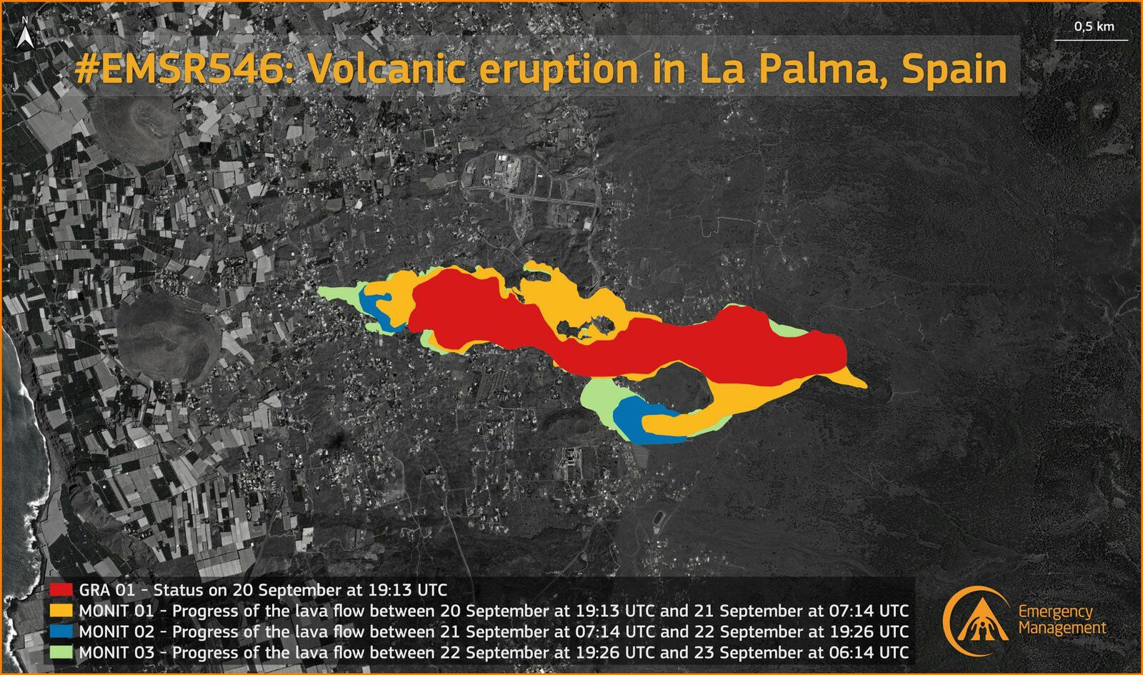 La Palma / Cumbre Vieja - extension of the lava flows to 23.09.2021 at 06h - Doc. Copernicus Rapid Mapping Team Using COSMO-SkyMed radar imagery - one click to enlarge
