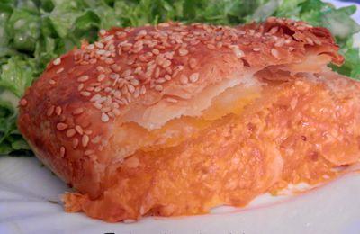 Feuilleté au blanc de poulet, carottes, sauce tomate
