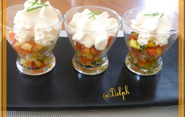 Verrines  de Gaspacho en chantilly.