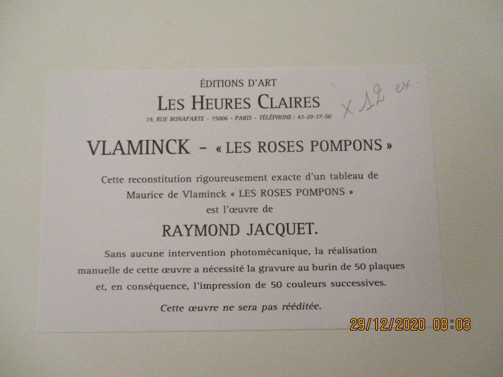 les roses pompons de VLAMINCK  livre de 12 planches etat neuf  prix 680€ +port 15€ en recommande