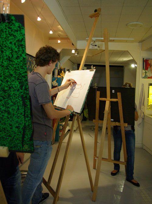 cours de dessin et couleur, atelier prépa à Tours, dessin d'observation d'après nature morte. travail sur chevalet. 29 sept 2010
