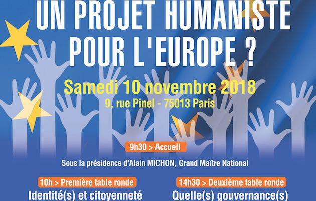 """Droit Humain : """"Un projet Humaniste pour l'Europe?"""" (10 novembre 2018)"""