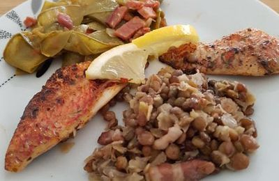 Filets de rouget, Trio de Lentilles, Pois gourmands