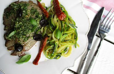 Steak au pesto