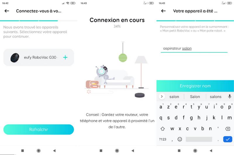 captures d'écran application smartphone de l'aspirateur robot intelligent connecté - eufy RoboVac G30 @ Tests et Bons Plans
