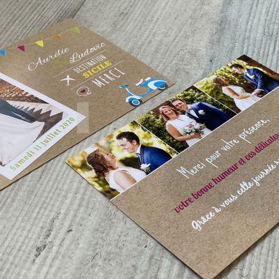 La carte de remerciements du mariage d'Aurélie & Ludovic...thème Dolce Vita