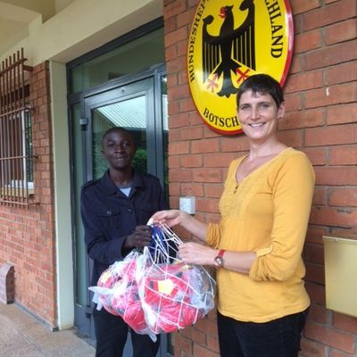 One of our colleagues Emmanuel when picking ball and pumps from the Germany