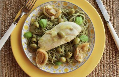 Poulet aux citrons marinés et aux olives vertes