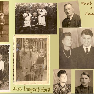 Alice 1923 Collage von den Wilhelm-Geschwister:Alice+Irmgard+Horst und ihren Eltern Änne + Paul