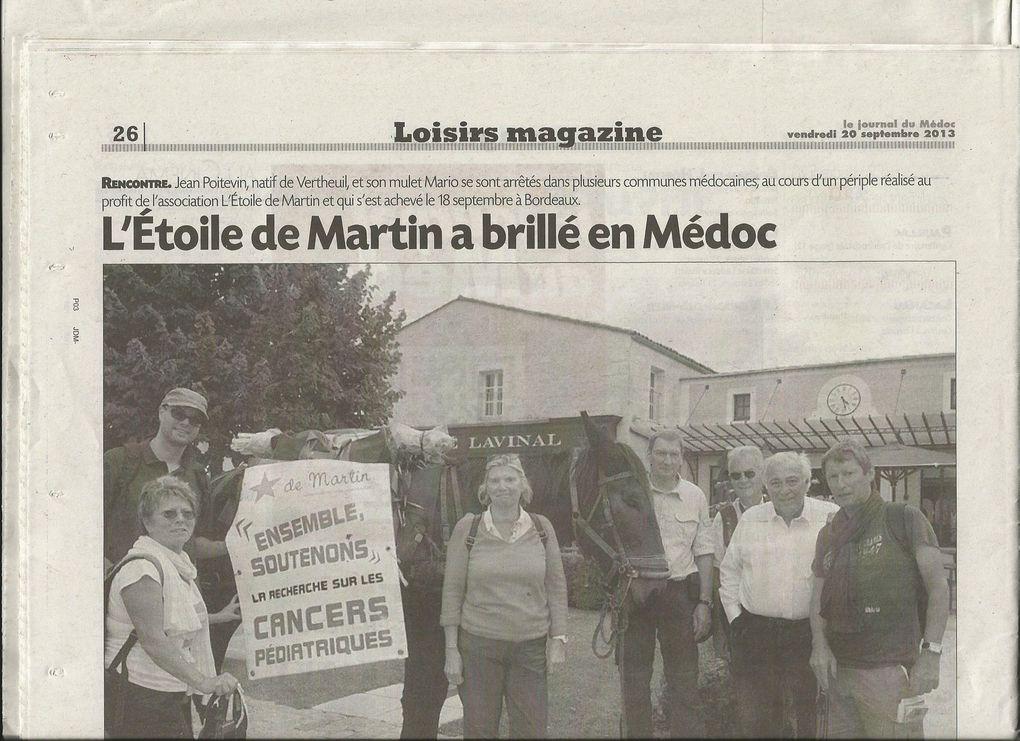 """Ce fut un beau voyage solidaire au profit de """"l'étoile de Martin"""" .Et le Médoc est un pays merveilleux.Nous garderons longtemps le souvenir de l'accueil des Médocains et des Bordelais,sans modération."""
