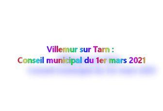 Villemur sur Tarn: Conseil municipal du 1er mars 2021