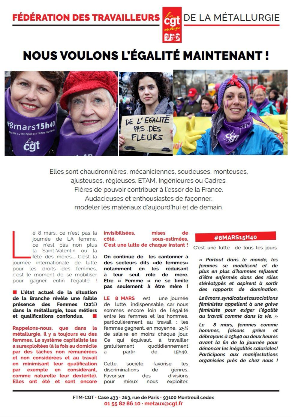 8 mars 2021 - Journée internationale de lutte pour le droit des femmes