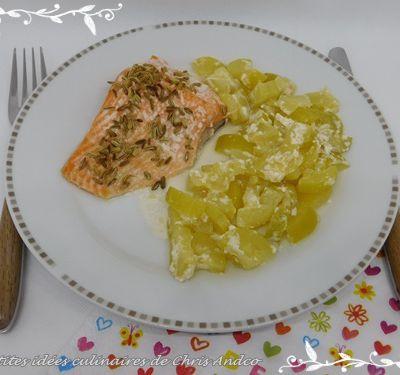 Saumon frais au fenouil & courgettes chèvre/miel