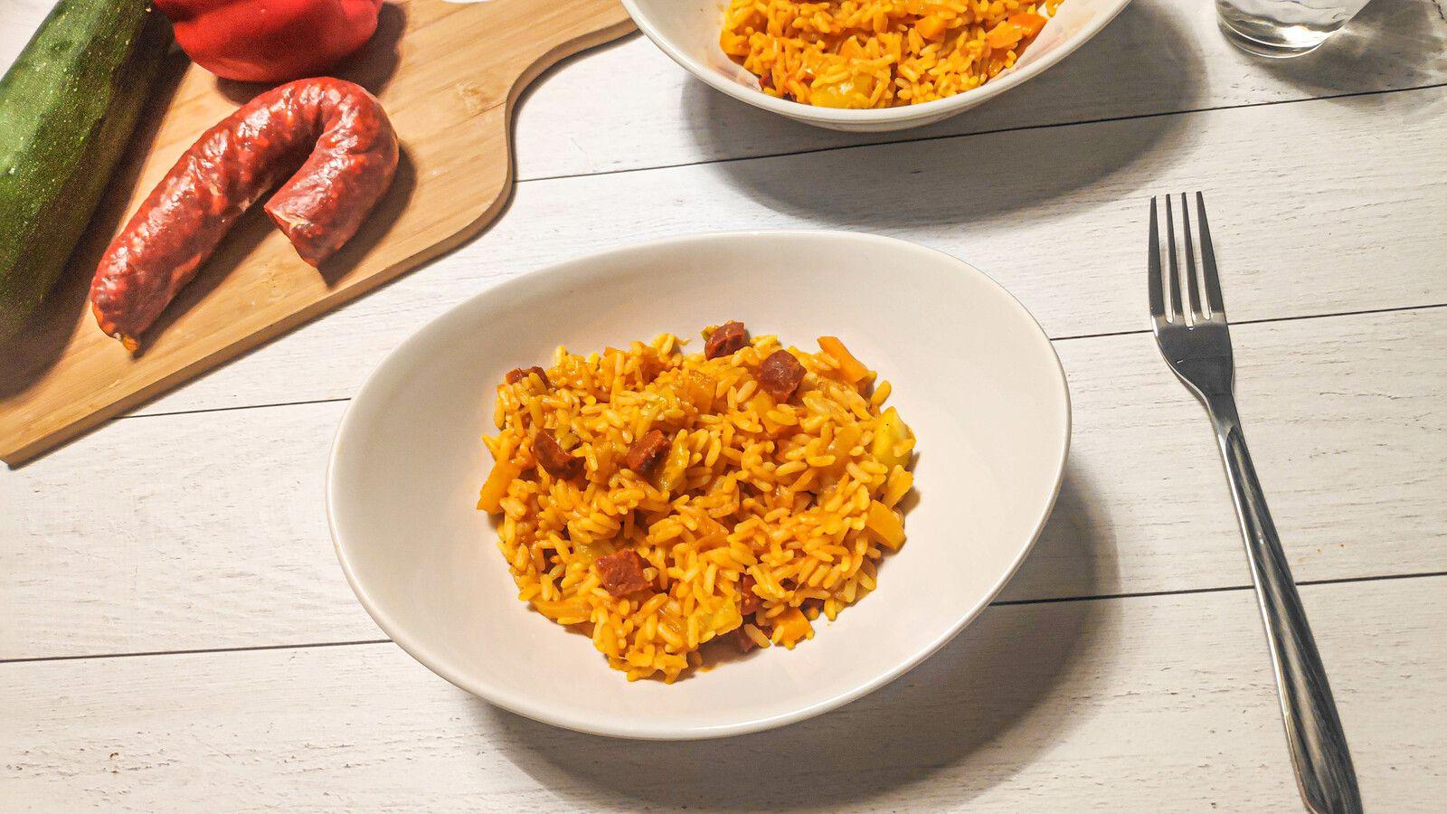 Riz au courgette, poivron et chorizo