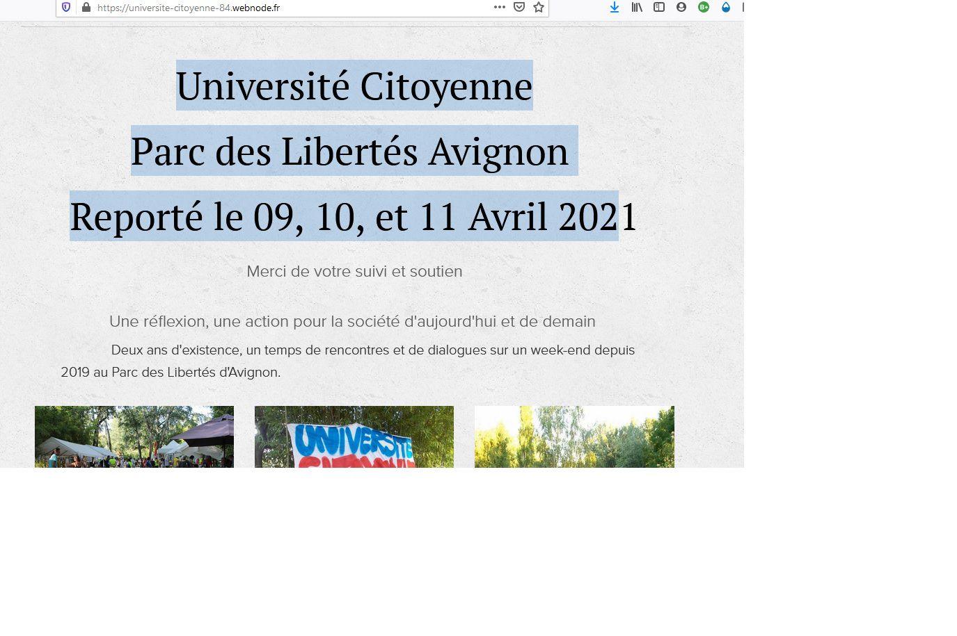 Université citoyenne du 24/25 octobre 2020 reportée en avril 2021
