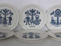 Lot de 6 assiettes décor vintage Made in Holland Années 70 - Vintage