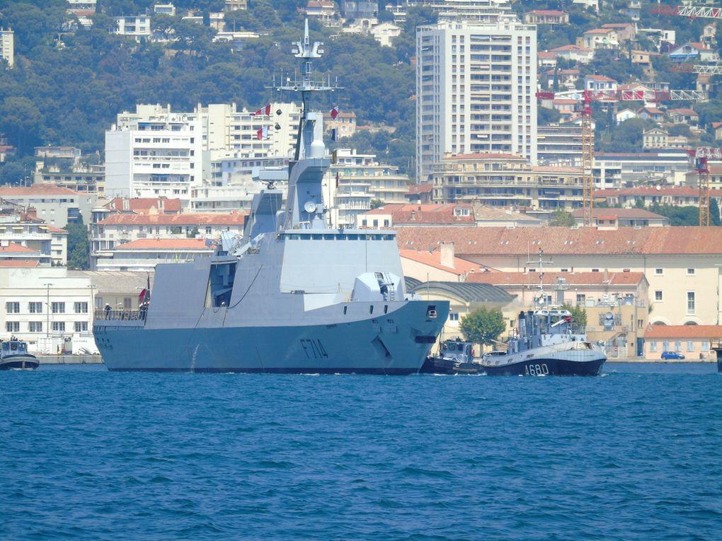 GUEPRATTE , F714 , frégate type la Fayette (FLF) appareillant de Toulon le 27 juillet 2018