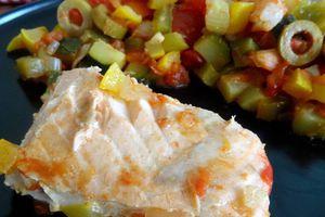 Pavé de saumon et crevettes aux légumes