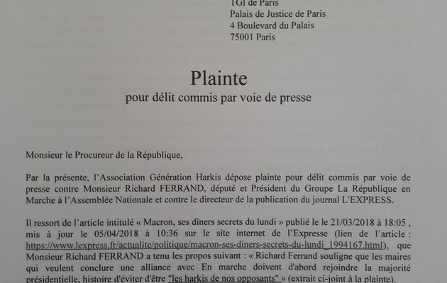Plaintes de L'association Générations Harkis et Mohamed Djafour contre Richard Ferrand