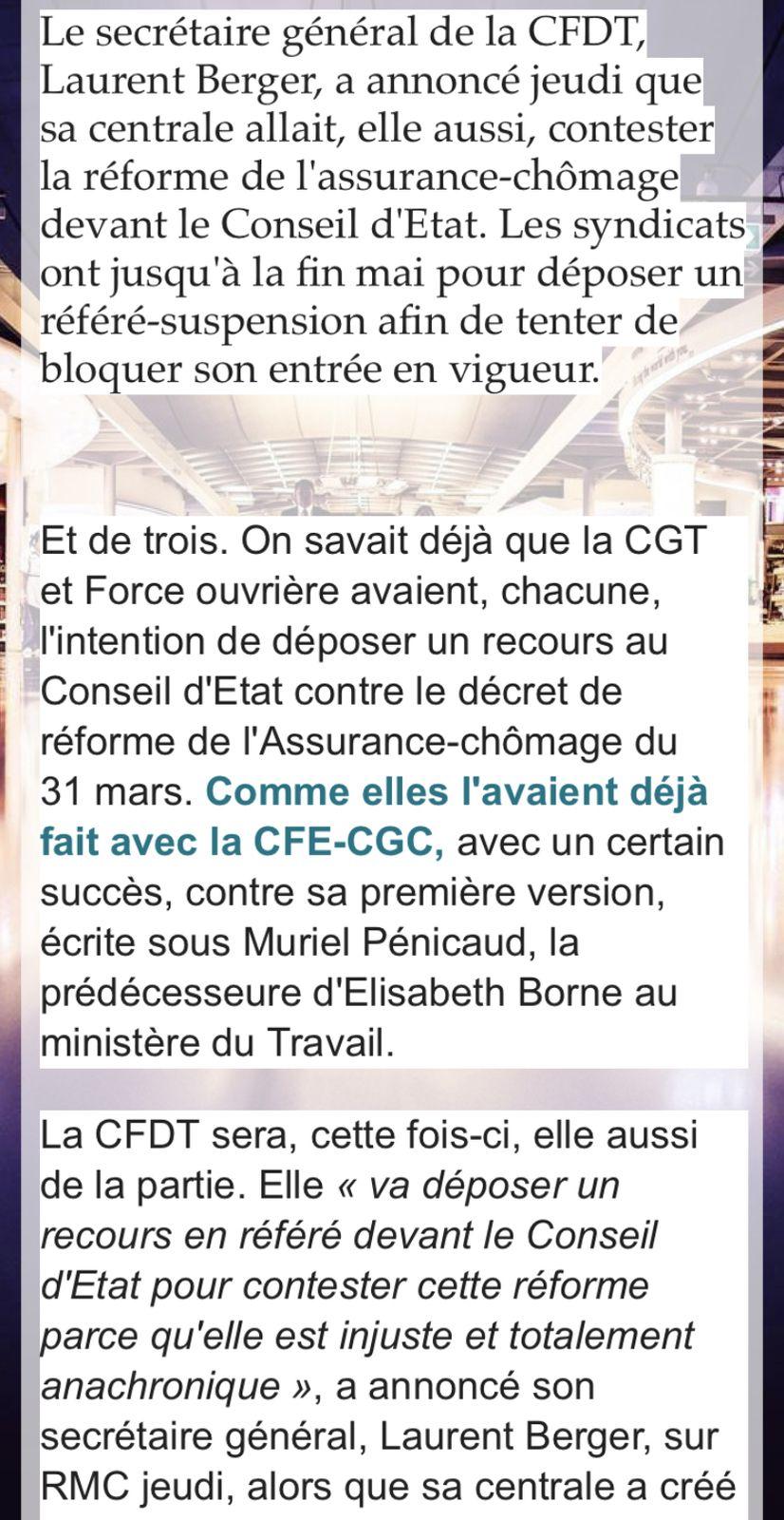 Réforme de l'assurance-chômage:la CFDT rejoint la CGT et FO dans la bataille juridique