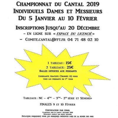 Inscription du Championnat de Tennis Cantal 2019