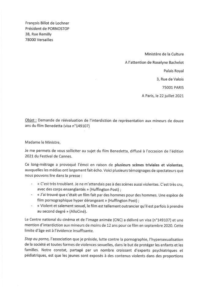 Le collectif Stop au porno demande inutilement la révision du visa d'exploitation de Benedetta