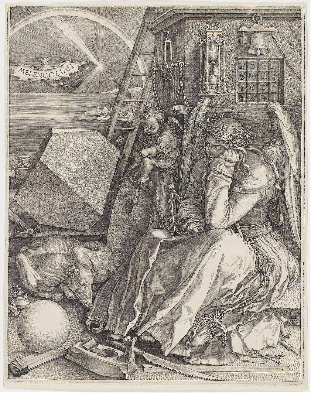 Melancholy, or the Spirit of Man in Search of the Secret of the Universe. This Dürer's etching, dating from 1514 according to the numbers in the square in the top right corner, depicts man contemplating the nature of the world in the state of melancholy, which in medieval times was associated with black bile and the planet Saturn. The winged man prefigures Johannes Kepler's interrogations as he calculates how to express the underlying harmony of the cosmos using spheres and polyhedra. The bright light in the sky is the great comet that was observed in the winter of 1513-1514 (Jean-Pierre Luminet, Science, Art and Geometrical Imagination)
